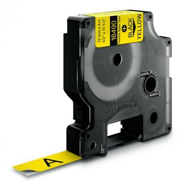 Картридж Dymo S0718080/18490, 12 мм, черный на желтом