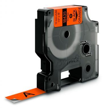 Картридж Dymo S0718490/18435, 12 мм, черный на оранжевом
