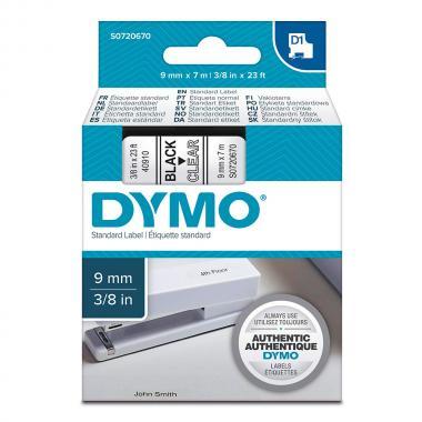 Картридж Dymo S0720670/40910, 9 мм, черный на прозрачном