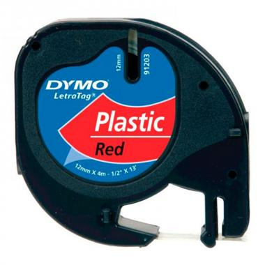 Лента Dymo S0721630/91223, 12 мм, черный на красном