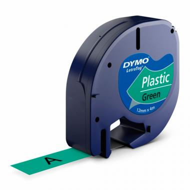 Лента Dymo S0721640/91224, 12 мм, черный на зеленом