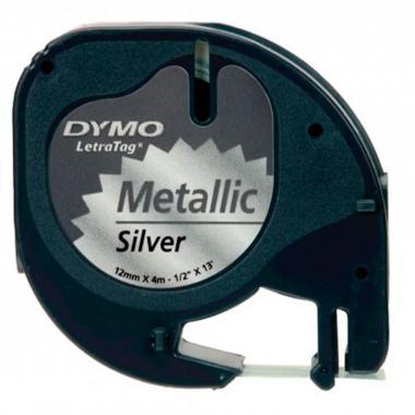 Лента Dymo S0721730/91228, 12 мм, черный на серебристом металлике