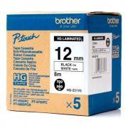 Набор лент Brother HGe-231V5, 12 мм, черный на белом (5 лент по 8 м) [HGe231V5]