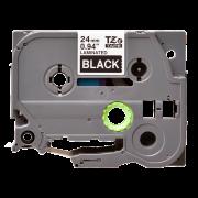 Лента TZe-355 совместимая, 24 мм, белый на черном