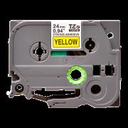 Лента TZe-S651 совместимая, 24 мм, черный на желтом
