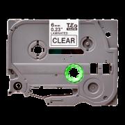 Лента TZe-111 совместимая, 6 мм, черный на прозрачном, для принтеров Brother PT H110, D210, D210VP, E110VP, E300VP, D450VP, D600VP