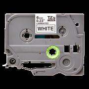 Лента TZe-211 совместимая, 6 мм, черный на белом