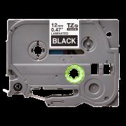 Лента TZe-335 совместимая, 12 мм, белый на черном