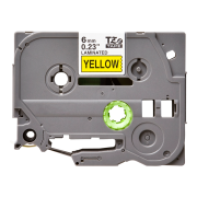 Лента TZe-611 совместимая, 6 мм, черный на желтом