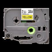 Лента TZe-621 совместимая, 9 мм, черный на желтом