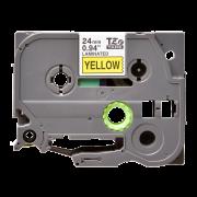 Лента TZe-651 совместимая, 24 мм, черный на желтом
