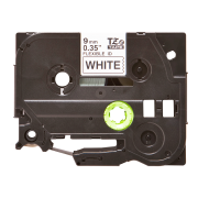 Лента TZe-FX221 совместимая, 9 мм, черный на белом
