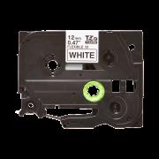 Лента TZe-FX231 совместимая, 12 мм, черный на белом