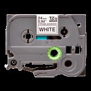 Лента TZe-S251 совместимая, 24 мм, черный на белом