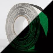 Фотолюминесцентная противоскользящая лента белая с черной полосой, 25 мм х 6 м