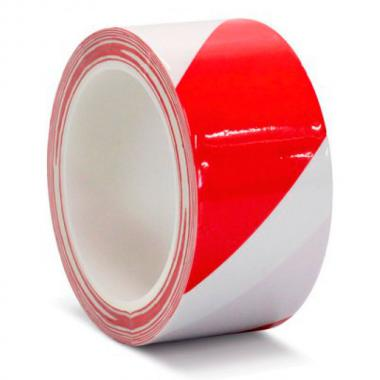 Клейкая лента ПВХ для разметки пола, красно-белая, 50 мм х 33 м