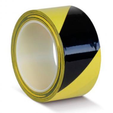 Клейкая лента ПВХ для разметки пола, желто-черная, 75 мм х 33 м