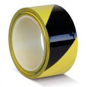 Клейкая лента ПВХ для разметки пола, желто-черная, 75 мм х 22 м