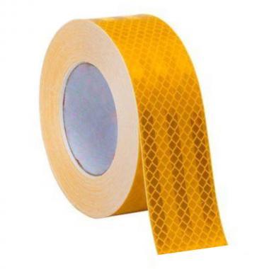 Алмазная светоотражающая самоклеящаяся лента желтая, 50 мм х 50 м