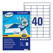 Самоклеящиеся этикетки Europe-100, 48,5 x 25,4 мм, 40 этикеток на листе А4, белые (100 листов) [ELA002]