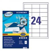 Самоклеящиеся этикетки Europe-100, 64,6 x 33,8 мм, 24 этикетки на листе А4, белые (100 листов) [ELA008]