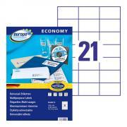 Самоклеящиеся этикетки Europe-100, 70 x 42,3 мм, 21 этикетка на листе А4, белые (100 листов) [ELA013]
