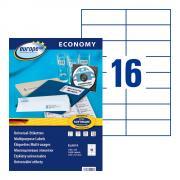 Самоклеящиеся этикетки Europe-100, 105 x 37 мм, 16 этикеток на листе А4, белые (100 листов) [ELA019]