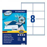 Самоклеящиеся этикетки Europe-100, 105 x 70 мм, 8 этикеток на листе А4, белые (100 листов) [ELA036]