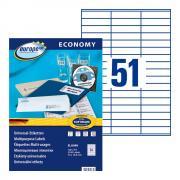 Самоклеящиеся этикетки Europe-100, 70 x 16,9 мм, 51 этикетка на листе А4, белые (100 листов) [ELA048]