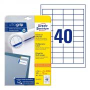 Самоклеящиеся этикетки Avery Zweckform, 48,5 x 25,4 мм, белые, 40 этикеток на листе А4 (25 листов) [4780]
