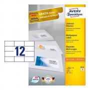 Самоклеящиеся этикетки Avery Zweckform, 70 x 36 мм, 12 этикеток на листе А5, белые (200 листов) [6131]