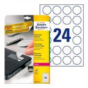 Этикетки-пломбы Avery Zweckform, круглые ∅ 40 мм, белые (20 листов) [L6112-20]
