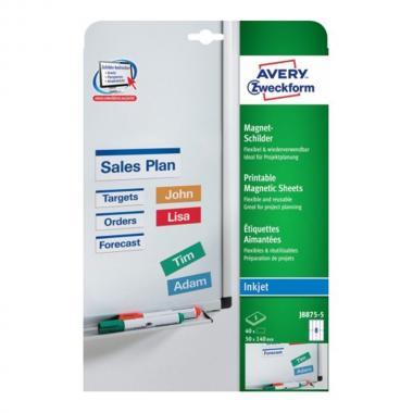 Магнитные таблички Avery Zweckform для струйных принтеров, 50 x 140 мм, 8 этикеток на листе A4 (5 листов) [J8875-5]
