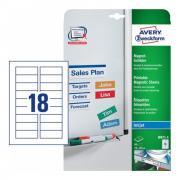 Магнитные таблички Avery Zweckform для струйных принтеров, 78 x 28 мм, 18 этикеток на листе A4 (5 листов) [J8871-5]