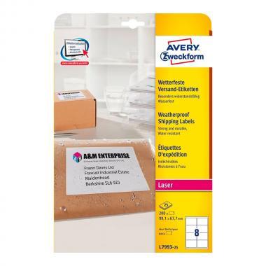 Всепогодные адресные этикетки Avery Zweckform, 99,1 x 67,7 мм (25 листов) [L7993-25]