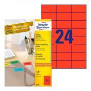 Самоклеящиеся этикетки Avery Zweckform, 70 x 37 мм, 24 этикетки на листе А4, красные (100 листов) [3448]