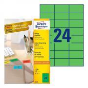 Самоклеящиеся этикетки Avery Zweckform, 70 x 37 мм, 24 этикетки на листе А4, зеленые (100 листов) [3450]
