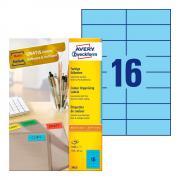 Самоклеящиеся этикетки Avery Zweckform, 105 x 37 мм, 16 этикеток на листе А4, голубые (100 листов) [3453]