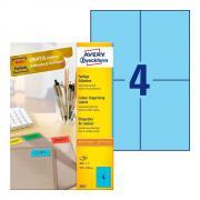 Самоклеящиеся этикетки Avery Zweckform, 105 x 148 мм, 4 этикетки на листе А4, голубые (100 листов) [3457]