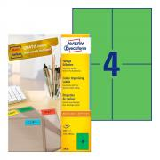 Самоклеящиеся этикетки Avery Zweckform, 105 x 148 мм, 4 этикетки на листе А4, зеленые (100 листов) [3458]