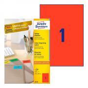 Самоклеящиеся этикетки Avery Zweckform, 210 x 297 мм, 1 этикетка на листе А4, красные (100 листов) [3470]