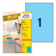 Самоклеящиеся этикетки Avery Zweckform, 210 x 297 мм, 1 этикетка на листе А4, голубые (100 листов) [3471]