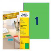 Самоклеящиеся этикетки Avery Zweckform, 210 x 297 мм, 1 этикетка на листе А4, зеленые (100 листов) [3472]