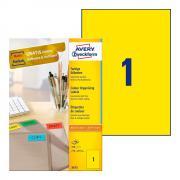 Самоклеящиеся этикетки Avery Zweckform, 210 x 297 мм, 1 этикетка на листе А4, желтые (100 листов) [3473]