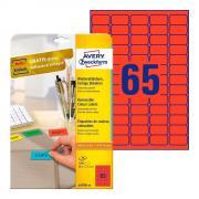 Удаляемые этикетки Avery Zweckform, 38,1 x 21,1 мм, 65 этикеток на листе А4, красные (20 листов) [L4790-20]