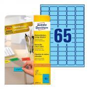 Удаляемые этикетки Avery Zweckform, 38,1 x 21,1 мм, 65 этикеток на листе А4, голубые (20 листов) [L4791-20]