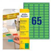Удаляемые этикетки Avery Zweckform, 38,1 x 21,1 мм, 65 этикеток на листе А4, зеленые (20 листов) [L4792-20]