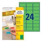 Удаляемые этикетки Avery Zweckform, 63,5 x 33,9 мм, 24 этикетки на листе А4, зеленые (20 листов) [L6033-20]