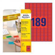 Удаляемые этикетки Avery Zweckform, 25,4 x 10 мм, 189 этикеток на листе А4, красные (20 листов) [L6036-20]