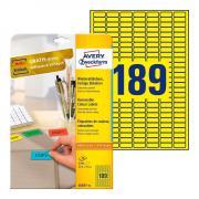 Удаляемые этикетки Avery Zweckform, 25,4 x 10 мм, 189 этикеток на листе А4, желтые (20 листов) [L6037-20]